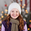 Beautiful winter girl at Christmas — Stock Photo
