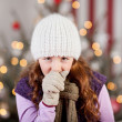 Young girl with a Christmas cold and flu — Foto Stock