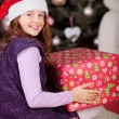 Joyful girl with a large red Christmas gift — Stock Photo