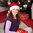 Young girl in front of the Christmas tree — Stok fotoğraf