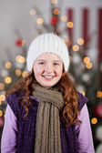 Beautiful winter girl at Christmas — Stock Photo