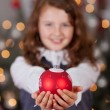 Decorative red Christmas bauble — Stock Photo