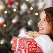 Pretty young girl dreaming of Christmas — Stockfoto