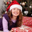 Young girl on Christmas Eve — Stok fotoğraf