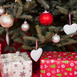Gift boxes under the Christmas tree — Stock Photo