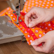 Stock Photo: Sewing by machine