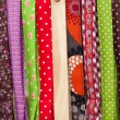 Brightly coloured textiles — Stock Photo