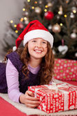 Young girl on Christmas Eve — Stockfoto