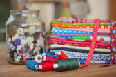 Yarns and fabric used in needlework — Stock Photo