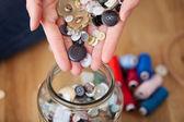 Designer'S Hands Filling Glass Jar In Workshop — Stock Photo