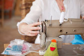 Fashion Designer Using Sewing Machine In Workshop — Stock Photo