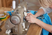 Sewing by machine — Stock Photo