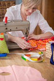 Designer Sewing Clothes In Workshop — Stock Photo