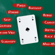 Ace card surrounded by game names on blackboard — Stockfoto