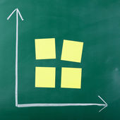Graph axis and sticky notes on blackboard — Stock Photo