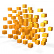 Floating yellow cubes — Stock Photo