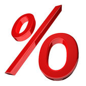 Percentage symbol in red — Stock Photo