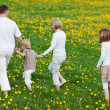 Family walking away over grassy field — Stock Photo
