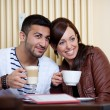 Stock Photo: Loving Asicouple in restaurant