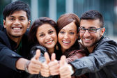 Happy optimistic group of young friends — Stock Photo