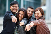 Young pointing forward — Stock Photo