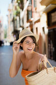 Beautiful woman going out shopping — Stock Photo