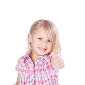 Girl Showing Thumbs Up Sign Against White Background — Stock Photo