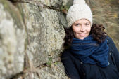 Woman dressed for cold weather — Stock Photo