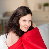 Woman Wrapped In Shawl At Home — Stock Photo