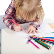 Little Girl Drawing At Table — Stock Photo