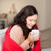 Woman Drinking Coffee In Winter At Home — Stock Photo