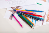 Drawing Papers And Pencils On Table — Stock Photo
