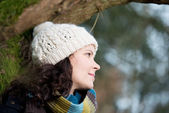 Young woman enjoying the outdoors in winter — Stock Photo
