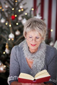 Elderly lady reading a book at Christmas — Stock Photo