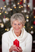 Serene lady with a Christmas candle — Foto Stock