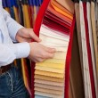 Stock Photo: Interior designer with colour swatches of fabrics