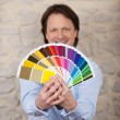 Interior designer with paint colour cards — Foto Stock