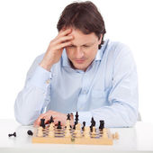 Concentration at chess — Stock Photo