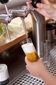 Waitress dispensing draft beer — Stock Photo