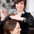 Hairdresser cutting a womans hair — Stock Photo