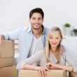 Couple With Cardboard Boxes At Home — Stock Photo