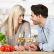 Loving couple enjoying wine — Stock Photo