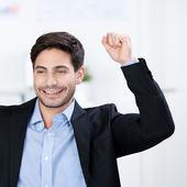 Successful businessman cheering — Stock Photo