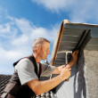 Stock Photo: Roofer working on a new dormer