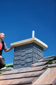 Chimney covered with slate tiles — Stock Photo