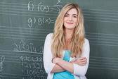 数学のクラスに自信を持って女性学生 — ストック写真