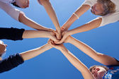 Hands Together Against Clear Sky — Stock Photo