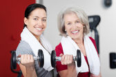 Mother And Daughter Lifting Dumbbells In Gym — Stock Photo