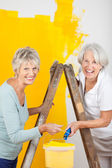 Senior Women Painting Wall Together — Stock Photo