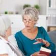 Two senior women having a conversation — Stock Photo